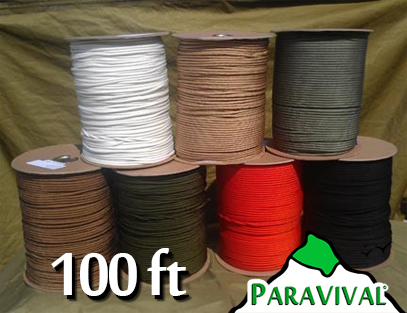 100ft ParaVivall.com MIL-C-5040H Type III 550 Paracord