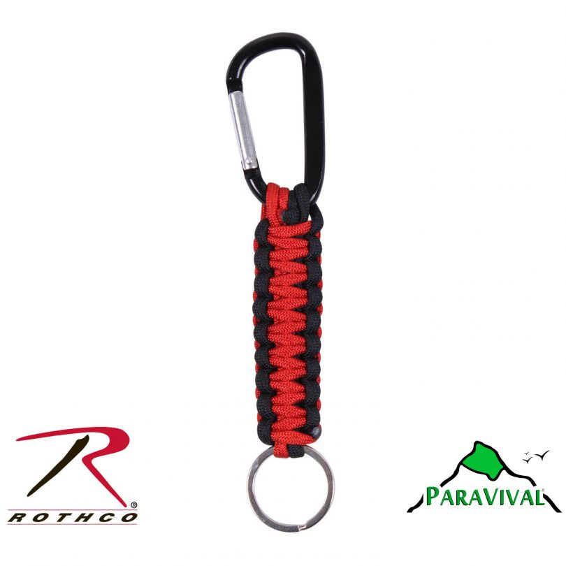 Paravival.com Black and Red Paracord Keychain with Carabiner