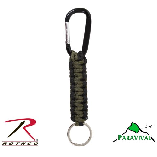 Paravival.com Olive Drab and Black Paracord Keychain with Carabiner